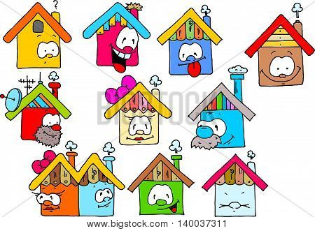 Funny houses with faces and some equipment coloured drawing.