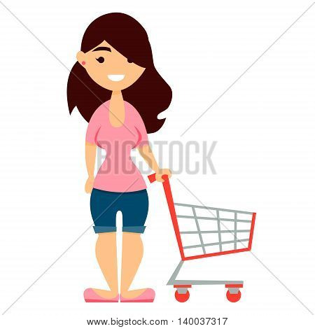 Cute woman with shopping cart  isolated on white background. Vector illustration