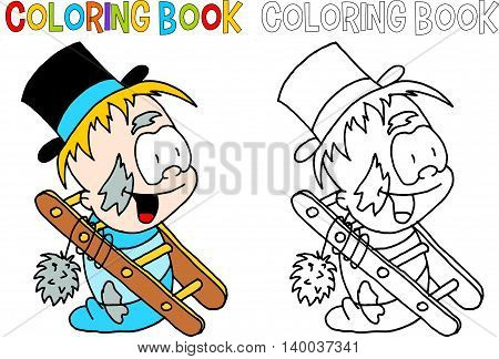 Colouring book of chimney sweep with a hut, ladder and a smiley face.