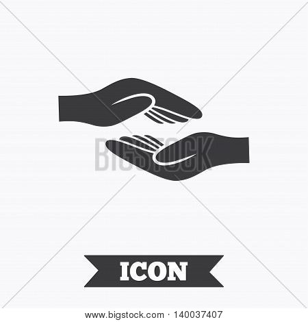 Helping hands sign icon. Charity or endowment symbol. Human palm. Graphic design element. Flat helping hands symbol on white background. Vector