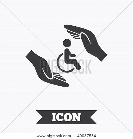 Disabled human insurance sign icon. Hands protect wheelchair man symbol. Health insurance. Graphic design element. Flat disabled symbol on white background. Vector