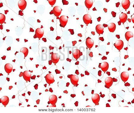 Beautiful balloons in the air on seamless hearts backgrond. Vector illustration.  For easy making seamless pattern just drag all group into swatches bar, and use it for filling any contours.