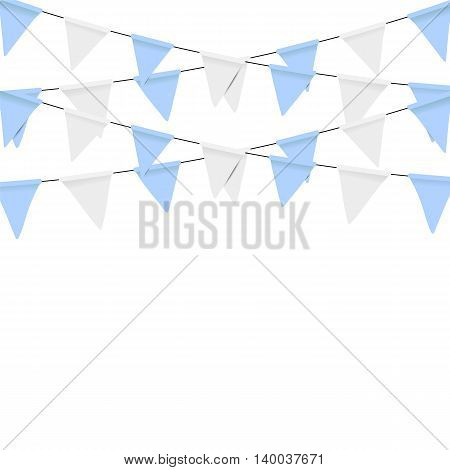 Oktoberfest decoration. Decorated in traditional colors of Bavaria. Bunting flags