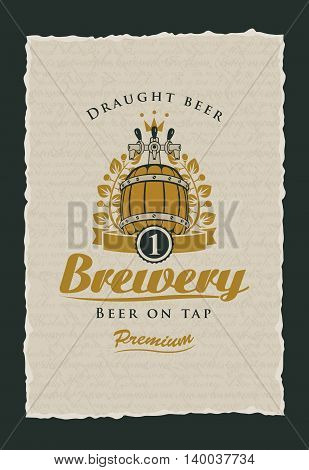 beer on tap label to the brewery with a barrel and a laurel wreath