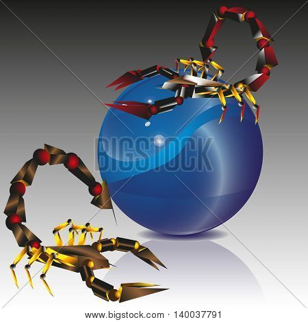Collage two scorpion and blue ball Picture two scorpion and a large blue ball on a black and white background vector illustration for decoration and design