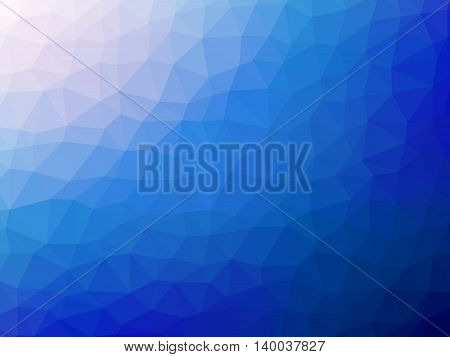 Abstract blue white gradient polygon shaped background.