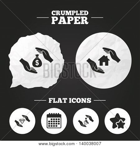 Crumpled paper speech bubble. Hands insurance icons. Money bag savings insurance symbols. Disabled human help symbol. House property insurance sign. Paper button. Vector