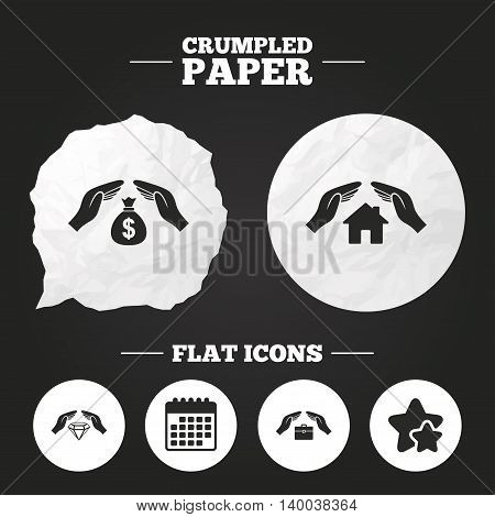 Crumpled paper speech bubble. Hands insurance icons. Money bag savings insurance symbols. Jewelry diamond symbol. House property insurance sign. Paper button. Vector