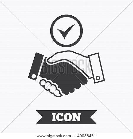 Tick handshake sign icon. Successful business with check mark symbol. Graphic design element. Flat handshake symbol on white background. Vector