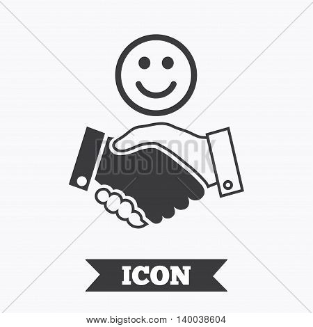 Smile handshake sign icon. Successful business with happy face symbol. Graphic design element. Flat handshake symbol on white background. Vector