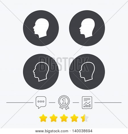 Head icons. Male and female human sign symbols. Chat, award medal and report linear icons. Star vote ranking. Vector