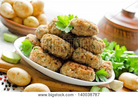 Juicy delicious meat cutlets in a rustic style selective focus