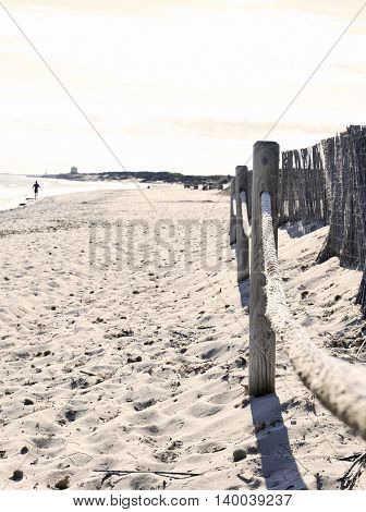 Beach scene with boundary and panoramic view.