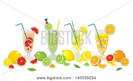 Vector collection of citrus products - orange, lemon, lime and grapefruit and Mojito cocktails, isolated on white background. Colorful illustration for design.