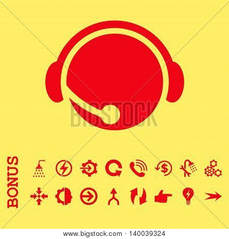 Call Center Operator vector icon. Image style is a flat pictogram symbol, red color, yellow background.