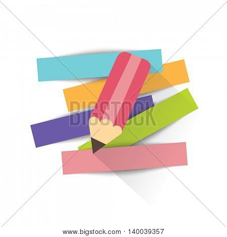 Pencil and strips of paper for message. Vector illustration.