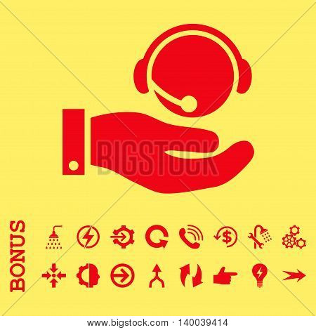 Call Center Service vector icon. Image style is a flat iconic symbol, red color, yellow background.