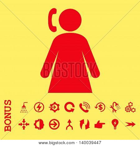 Calling Woman vector icon. Image style is a flat iconic symbol, red color, yellow background.