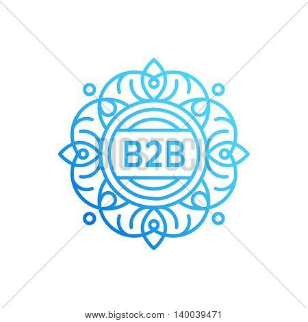 B2B logo vector design concept isolated on white background. Modern corporate identity for business marketing company. Luxury mono line style retro monogram or badge with floral ornament