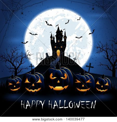Halloween pumpkins and old castle on blue night background with full Moon, illustration.