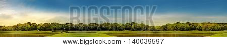 panoramic landscape photography of Curitiba Barigui park with blue sky