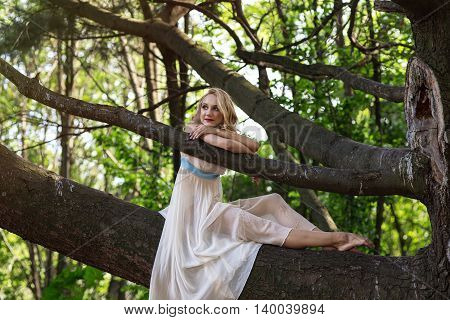 Young beautiful girl dressed in a tunic sitting on a big tree in a park