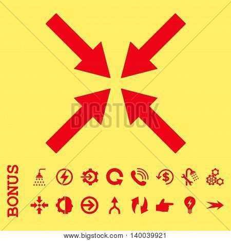 Center Arrows vector icon. Image style is a flat iconic symbol, red color, yellow background.