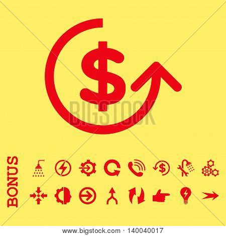 Chargeback vector icon. Image style is a flat pictogram symbol, red color, yellow background.