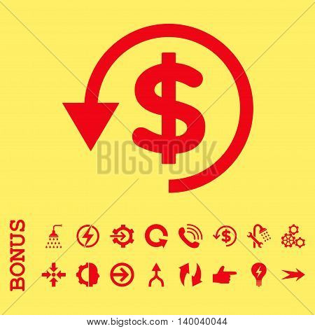 Chargeback vector icon. Image style is a flat iconic symbol, red color, yellow background.