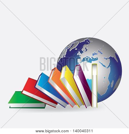 globe and books. concept of education in the world. vector illustration