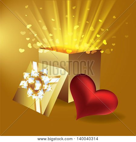 vector illustration of gift box with hearts
