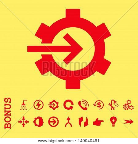 Cog Integration vector icon. Image style is a flat iconic symbol, red color, yellow background.