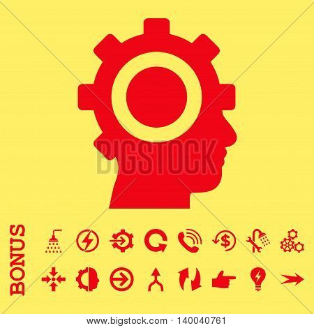 Cyborg Gear vector icon. Image style is a flat pictogram symbol, red color, yellow background.