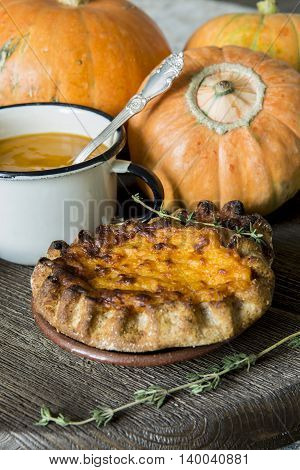 Pumpkin puree in the Cup, and thyme pie