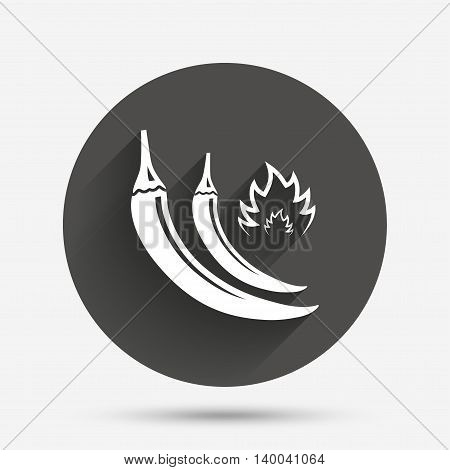 Hot chili peppers sign icon. Spicy food fire symbol. Circle flat button with shadow. Vector