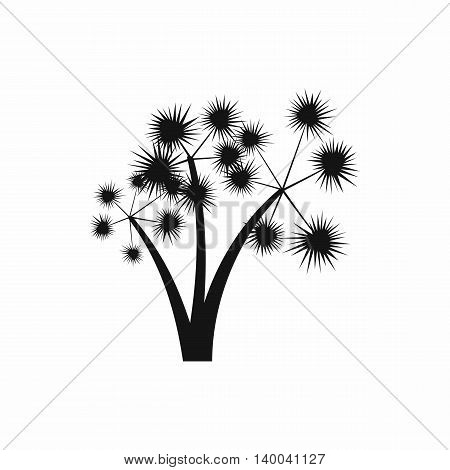 Three spiky palm trees icon in simple style isolated on white background. Flora symbol