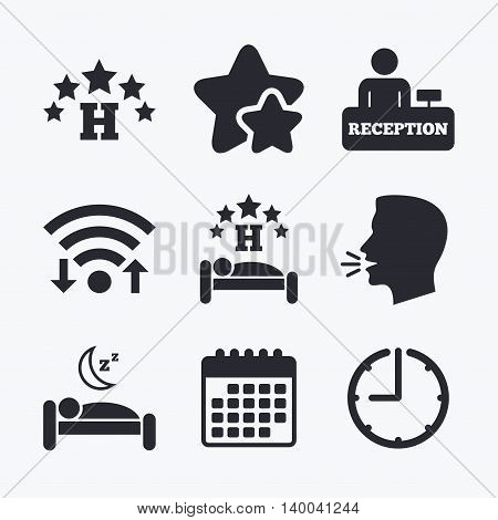 Five stars hotel icons. Travel rest place symbols. Human sleep in bed sign. Hotel check-in registration or reception. Wifi internet, favorite stars, calendar and clock. Talking head. Vector