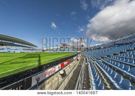GETAFE,SPAIN-MARCH 2016: at the tribunes of FC Getafe stadium