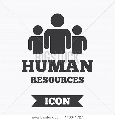 Human resources sign icon. HR symbol. Workforce of business organization. Group of people. Graphic design element. Flat human resources symbol on white background. Vector
