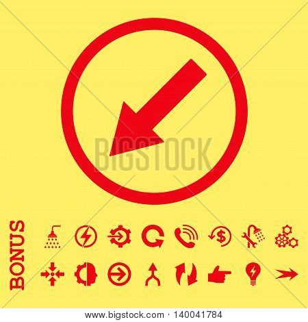 Down-Left Rounded Arrow vector icon. Image style is a flat iconic symbol, red color, yellow background.