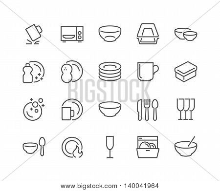 Simple Set of Dish and Plates Related Vector Line Icons. Contains such Icons as Plate Stack, Wineglass, Detergent, Unbreakable Dishes and more Editable Stroke. 48x48 Pixel Perfect.