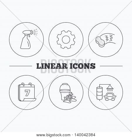 Car wash icons. Automatic cleaning station linear signs. Bucket with foam bubbles, sponge and spray flat line icons. Flat cogwheel and calendar symbols. Linear icons in circle buttons. Vector