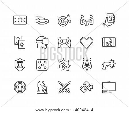Simple Set of Games Related Vector Line Icons. Contains such Icons as Joystick, Console, Virtual Reality Helmet, Tower Defence and more. Editable Stroke. 48x48 Pixel Perfect.