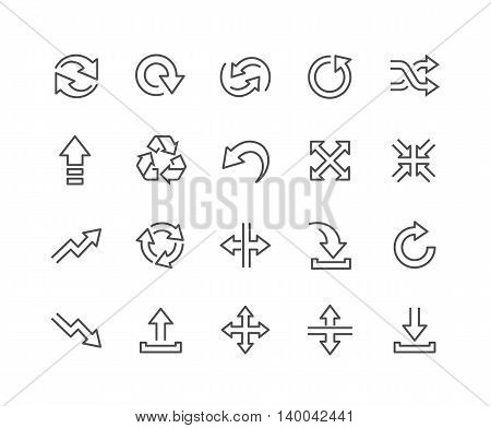 Simple Set of Interface Arrows Related Vector Line Icons. Contains such Icons as Upload, Download, Refresh, Expand, Move and more Editable Stroke. 48x48 Pixel Perfect.