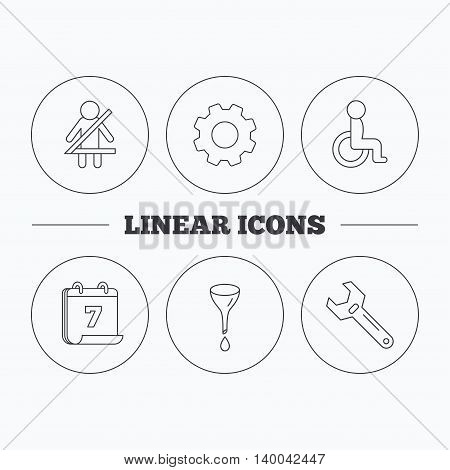 Seat belt, oil change and wrench tool icons. Disabled person linear sign. Flat cogwheel and calendar symbols. Linear icons in circle buttons. Vector