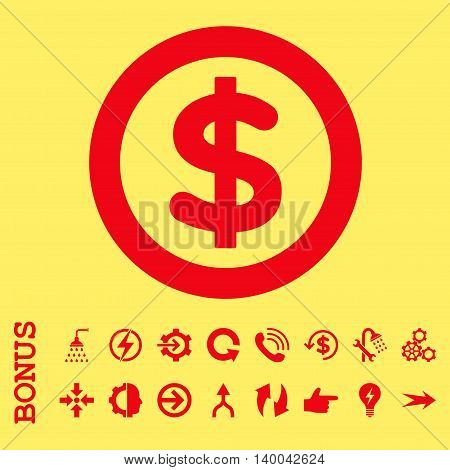 Finance vector icon. Image style is a flat iconic symbol, red color, yellow background.