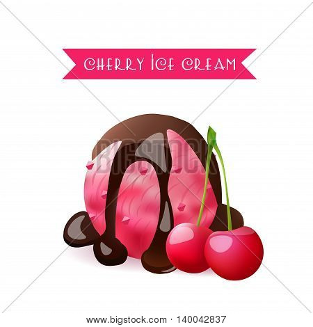 Cherry Ice Cream Scoop. Berry Flavor with liquid chocolate. Vector Isolated Product.