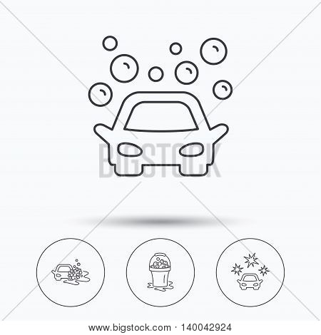 Car wash icons. Automatic cleaning station linear signs. Wet cleaning and foam bucket flat line icons. Linear icons in circle buttons. Flat web symbols. Vector