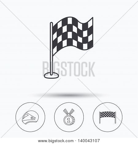 Race flag, checkpoint and motorcycle helmet icons. Winner award medal linear signs. Linear icons in circle buttons. Flat web symbols. Vector