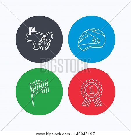 Race flag, motorcycle helmet and award medal icons. Start or finish flag linear sign. Linear icons on colored buttons. Flat web symbols. Vector